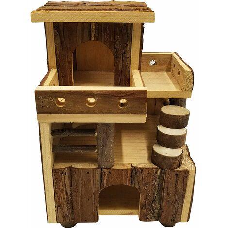 Dehner 4203857 Maison pour rongeurs à Picots Env. 26 x 19 x 16 cm, Bois de Sapin Naturel
