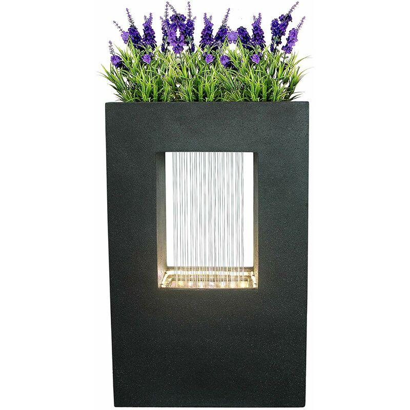 Dehner Grua avec éclairage LED, Aspect Pierre, env. 93 x 56 x 20 cm, polyrésine, Gris foncé, Fontaine de Jardin Gris