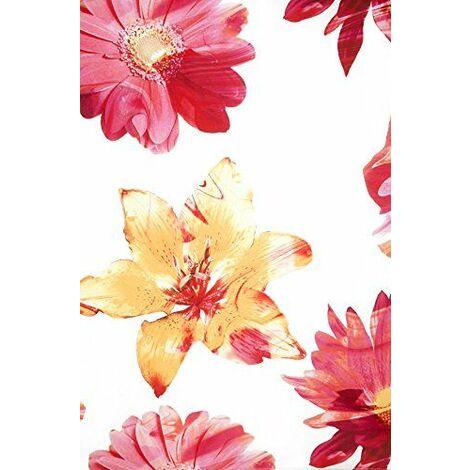 Deko Trend Fantasy 6236765 24 Rideau à Patte Polyester Blanc/Jaune/Orange/Rouge 245 x 140 x 245 cm