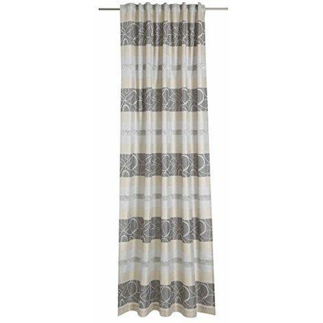 Deko Trend Kimono 6236751 97 Rideau à Patte Cachée Polyester Gris/cru 245 x 146 x 245 cm