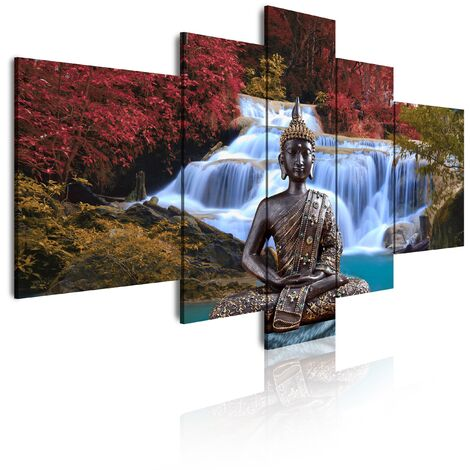 DekoArte 18 - Cuadros Modernos Impresión de Imagen Artística Digitalizada | Lienzo Decorativo Para Tu Salón o Dormitorio | Estilo Buda Zen Paisaje Relajación Naturaleza | 5 Piezas 180x85cm XXL