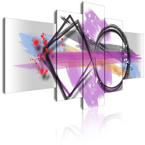 DekoArte 299 - Cuadros Modernos Impresión de Imagen Artística Digitalizada | Lienzo Decorativo Para Tu Salón o Dormitorio | Estilo Abstracto Moderno Colores Plata Blanco Morado | 5 Piezas 180x85cm XXL