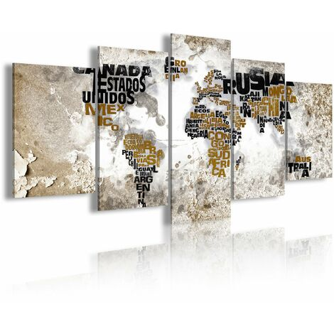 DekoArte 448 - Cuadros Modernos Impresión de Imagen Artística Digitalizada | Lienzo Decorativo Para Tu Salón o Dormitorio | Estilo Mapamundi Mapa del Mundo Con Nombres de Países