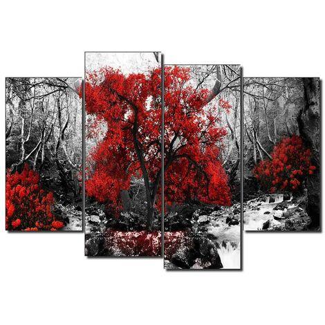 DekoArte - Cuadros Modernos Impresión de Imagen Artística Digitalizada | Lienzo Decorativo Para Salón o Dormitorio |  Estilo Paisaje Blanco y Negro con Árboles Rojos Naturaleza | 5 Piezas 150x80cm