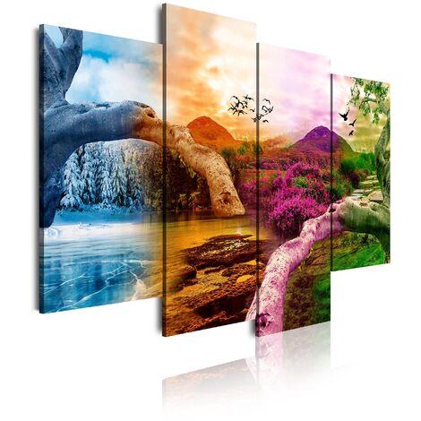 DekoArte - Cuadros Modernos Impresión de Imagen Artística Digitalizada | Lienzo Decorativo Para Salón o Dormitorio | Estilo Paisaje Cuatro Estaciones del año Montañas Árboles