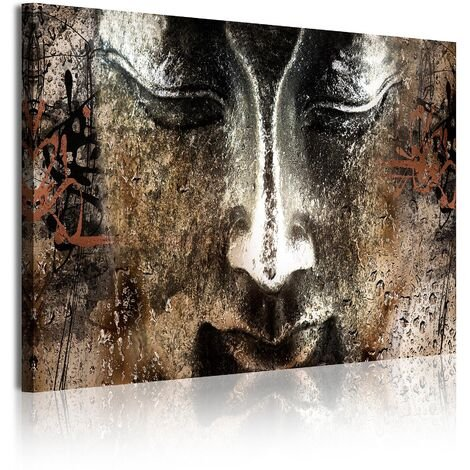 DekoArte - Cuadros Modernos Impresión de Imagen Artística Digitalizada   Lienzo Decorativo Para Tu Salón o Dormitorio    Estilo Cara Buda Zen Piedra con Letras Chinas