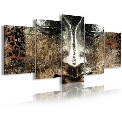 DekoArte - Cuadros Modernos Impresión de Imagen Artística Digitalizada | Lienzo Decorativo Para Tu Salón o Dormitorio |  Estilo Cara Buda Zen Piedra con Letras Chinas