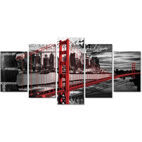DekoArte - Cuadros Modernos Impresión de Imagen Artística Digitalizada | Lienzo Decorativo Para Tu Salón o Dormitorio |  Estilo Ciudades EEUU Golden Gate