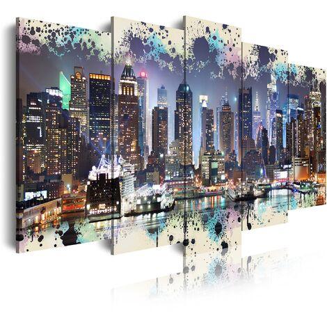 DekoArte - Cuadros Modernos Impresión de Imagen Artística Digitalizada | Lienzo Decorativo Para Tu Salón o Dormitorio | Estilo Ciudades Nueva York Skyline Manhattan Iluminado