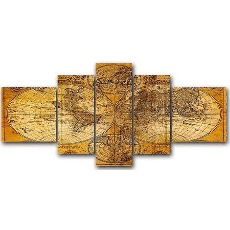 DekoArte - Cuadros Modernos Impresión de Imagen Artística Digitalizada | Lienzo Decorativo Para Tu Salón o Dormitorio | Estilo Mapamundi Mapa del Mundo Antiguo