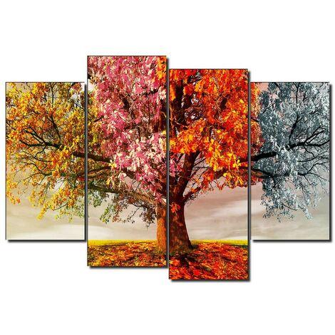 DekoArte - Cuadros Modernos Impresión de Imagen Artística Digitalizada   Lienzo Decorativo Para Tu Salón o Dormitorio   Estilo Paisaje Árboles Cuatro Estaciones