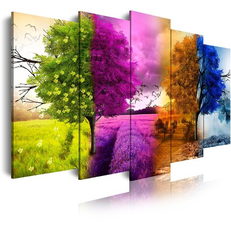 DekoArte - Cuadros Modernos Impresión de Imagen Artística Digitalizada | Lienzo Decorativo Para Tu Salón o Dormitorio | Estilo Paisaje Cuatro Estaciones del año