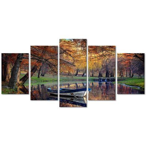 DekoArte - Cuadros Modernos Impresión de Imagen Artística Digitalizada | Lienzo Decorativo Para Tu Salón o Dormitorio | Estilo Paisaje Otoño con Agua