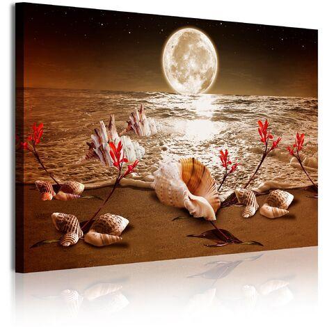 DekoArte - Cuadros Modernos Impresión de Imagen Artística Digitalizada   Lienzo Decorativo Para Tu Salón o Dormitorio   Estilo Piasaje noche Luna Iluminando Playa