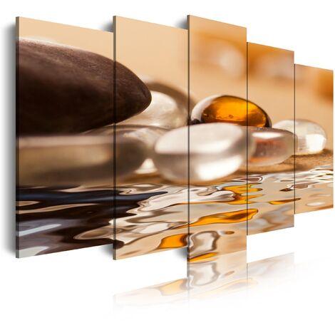 DekoArte - Cuadros Modernos Impresión de Imagen Artística Digitalizada | Lienzo Decorativo Para Tu Salón o Dormitorio |  Estilo Zen Piedras y Agua