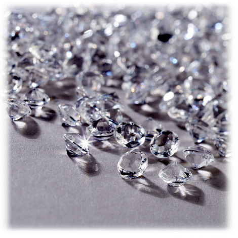 Dekodiamanten 10.000er Set, Tischdeko Hochzeit, Dekosteine Diamanten, Kunststoff, 6 x 4 mm, transparent