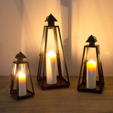 Laterne Windlicht Säule Teelichthalter Kerzenhalter Deko Licht Kerze Metall Edel