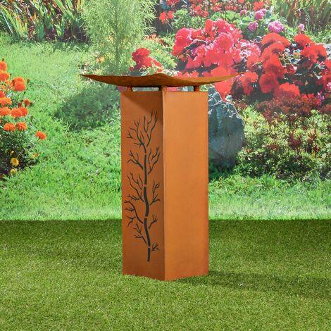 Dekosäule Säule Garten Feuerstelle Rost Edelrost Optik 66,5CM Deko Podest Blume