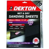 Dekton 10 Pack Of Wet & Dry Sanding Sheet Sandpaper 320 Grit Fine 230 X 380mm