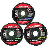 Dekton 3 x 115mm Flap Discs Grinding Sanding 40 60 80 Grit 4.5 Inch Angle Grinder