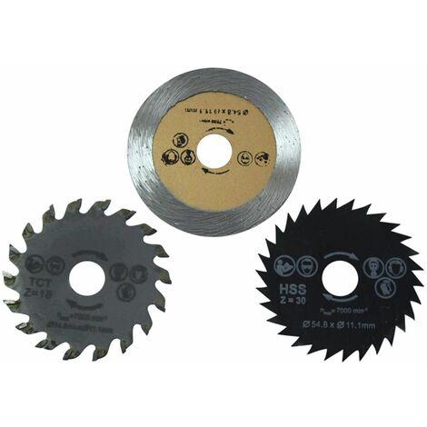 Dekton Dt80502 3 Piece Mini Blades- HSS Saw, Diamond Cutting & Tct Wood Blade