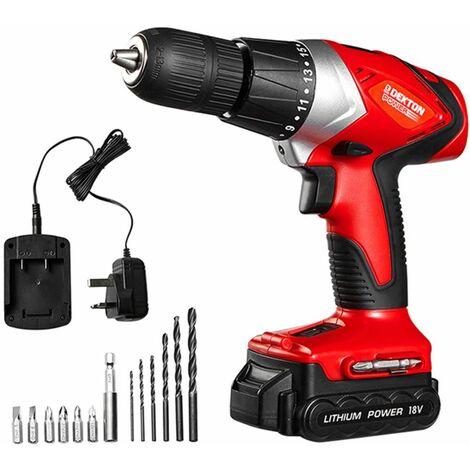 DEKTON Power 610010 18V Pro Cordless Drill and Bits With Spirt Level 14pc Set