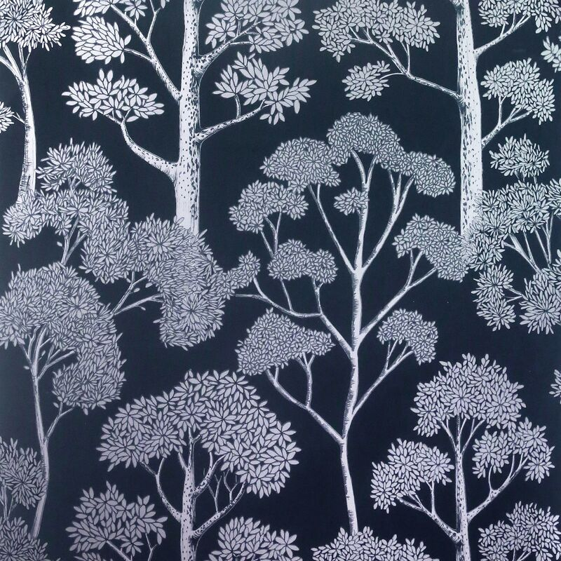 Image of Delamere Navy Blue Silver Wallpaper Metallic Tree Natural Floral - Arthouse
