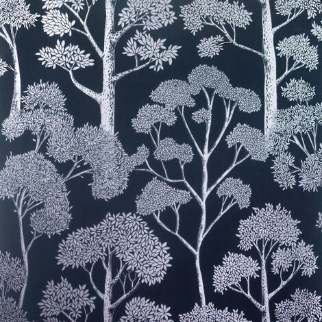 Delamere Navy Blue Silver Wallpaper Arthouse Metallic Tree Natural Floral