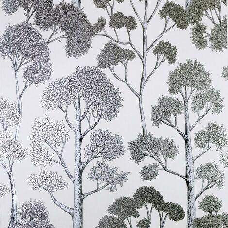 Delamere White Silver Wallpaper Arthouse Metallic Tree Natural Floral