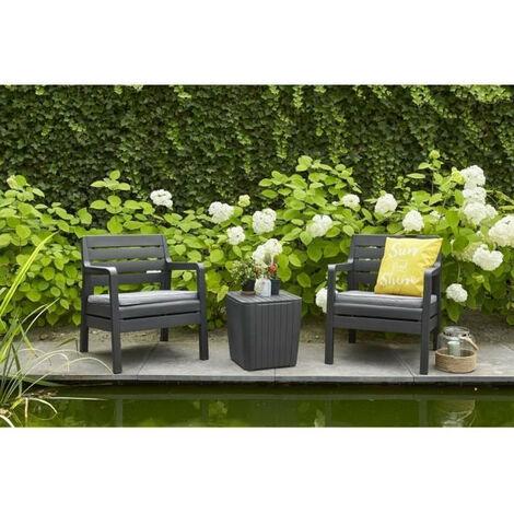 DELANO Ensemble de balcon 2 places avec coussins assises - 2 fauteuils et une table basse - Imitation bois - Graphite