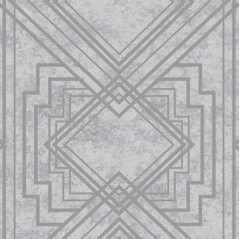 Delano Geometric Wallpaper Holden Metallic Textured Vinyl Grey Silver