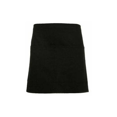Delantal corto con bolsillo de tres compartimentos CLASSIC DE9123 | Negro - UNICA