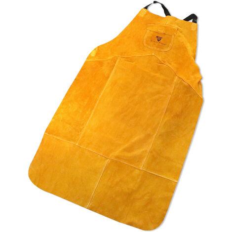 Delantal de soldadura STAHLWERK cuero para TIG / TIG / MIG / MAG / MMA / Plasma, resistente al calor y al fuego, naranjo-amarillo