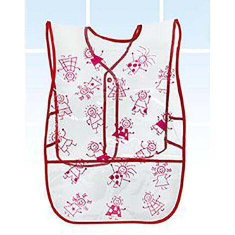 Delantal para Niños, de color Blanco, ideal para Pintar. Diseño Unisex, con estilo Infantil - Hogar y Más Rojo