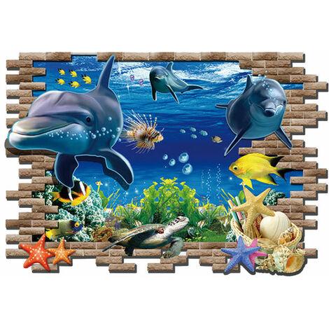 Delfini - wall sticker Adesivo Murales Da Parete Sticker Effetto 3D Illusione ottica Buco Parete