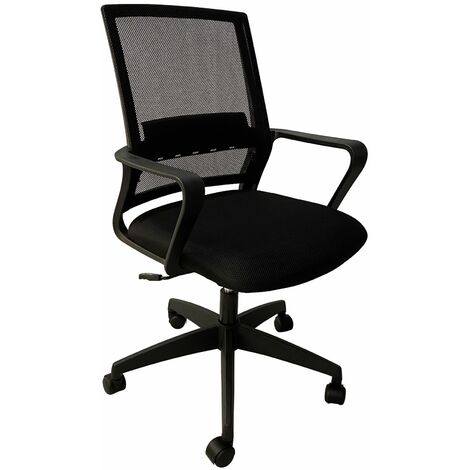 Dellen Height Adjustable Office Chair with armrests and a mesh back, W59xD57xH92-99.5 cm - Black