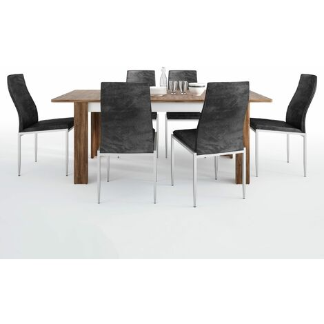 Delly Dining set package Delly extending dining table + 6 Lillie High Back Chair Black. White Wood