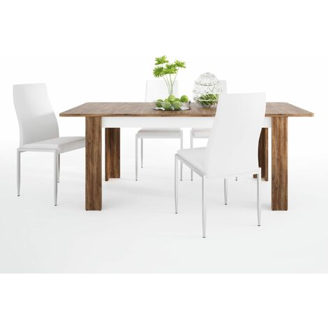 Delly Dining set package Delly extending dining table + 6 Lillie High Back Chair White. White Wood