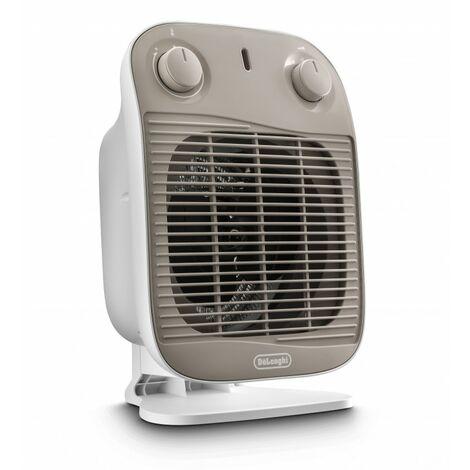 De'Longhi Termoventilador HFS50C22. Calefactor Eléctrico Con Termostato. Potencia Ajustable. Protección Antigoteo. 2200 W
