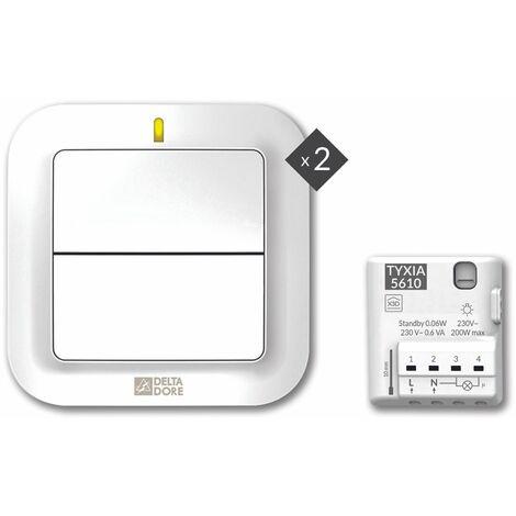 Delta Dore - Pack TYXIA 611 Pack éclairage pour ajout d'un interrupteur supplémentaire sans fil