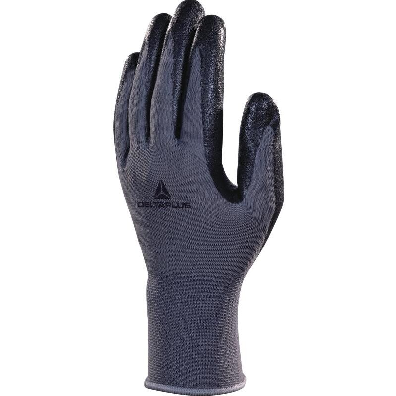 Image of VE722 Polyester Safety Gloves with Nitrile Foam Palm Black/Grey - Size 9 - Delta Plus