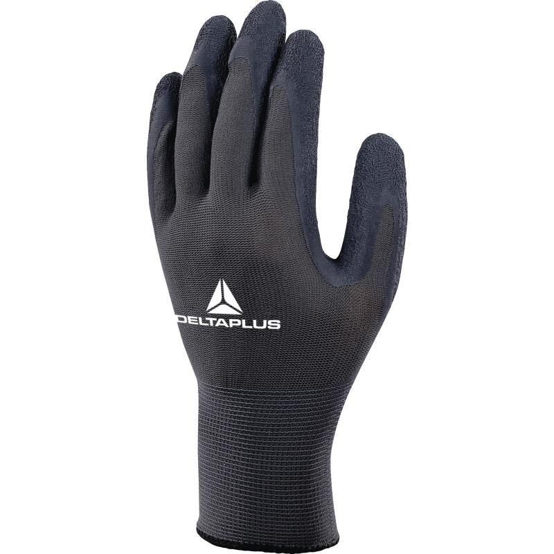 Image of VE630 Grip Latex Coated Safety Gloves Black/Grey - Size 7 - Delta Plus