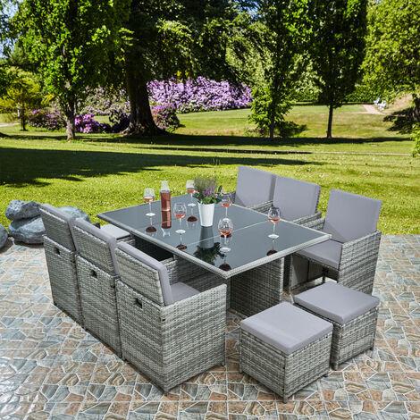 "main image of ""Deluxe 11 Piece 10 Seater Rattan Cube Garden Furniture Patio Set - Grey/Grey"""