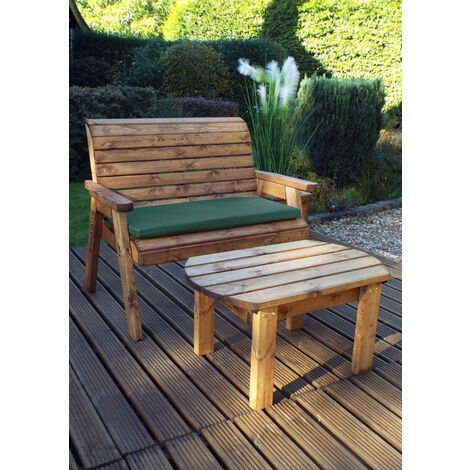 Deluxe Bench Set with Green Cushions - Fully Assembled