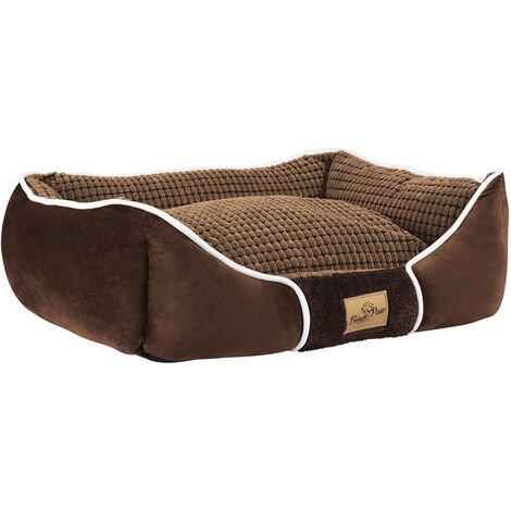 Deluxe Dog Bed Pet Snuggle Basket Cuddler Cushion with Removable Pillow Soft,Brown 56x46x20cm