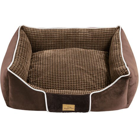 Deluxe Dog Bed Pet Snuggle Basket Cuddler Cushion with Removable Pillow Soft,Brown 63x55x20cm