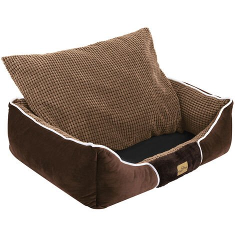 Deluxe Dog Bed Pet Snuggle Basket Cuddler Cushion with Removable Pillow Soft,Brown 78x62x20cm