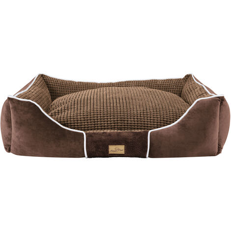 Deluxe Dog Bed Pet Snuggle Basket Cuddler Cushion with Removable Pillow Soft,Brown 93.5x76x20cm