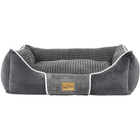 Deluxe Dog Bed Pet Snuggle Basket Cuddler Cushion with Removable Pillow Soft,Grey 63x55x20cm