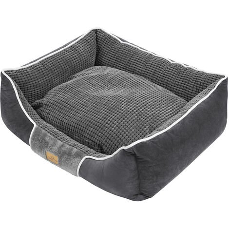 Deluxe Dog Bed Pet Snuggle Basket Cuddler Cushion with Removable Pillow Soft,Grey 78x62x20cm